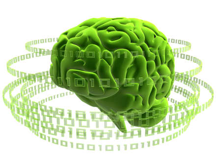 coding: green brain Stock Photo
