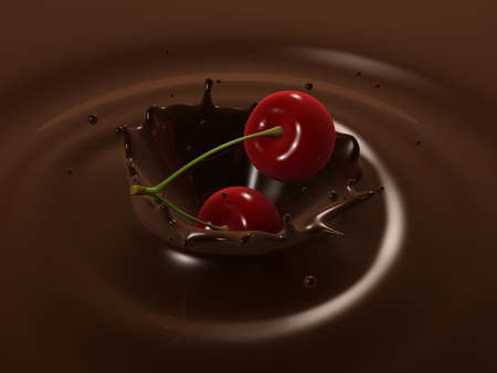 cherry choco splash Stock Photo - 3054436