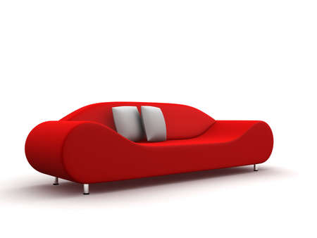 comfy: red leather sofa Stock Photo