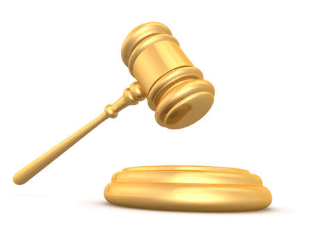 juror: golden gavel Stock Photo