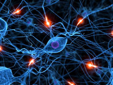 menschlichen aktive Nervenzelle  Standard-Bild