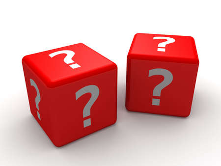 exploit: 3d dice questionmark Stock Photo