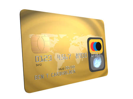 bankomat: golden credit card Stock Photo