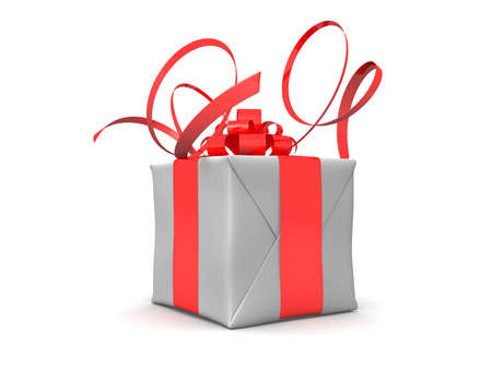 closed ribbon: white present
