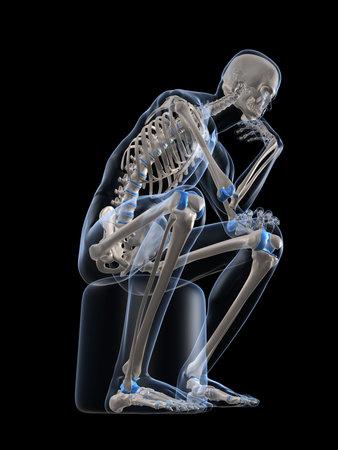 esqueleto humano: pensamiento esqueleto Foto de archivo