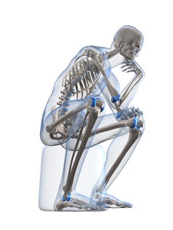 squatting: thinking skeleton
