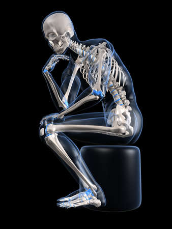 squatting: pensamiento esqueleto Foto de archivo