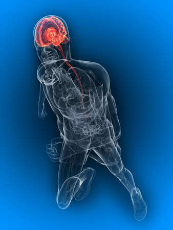 running - highlighted brain photo