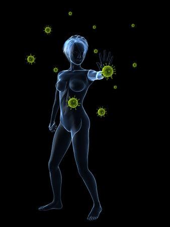immune defense - woman blocking viruses photo