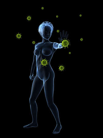 immune defense - woman blocking viruses photo