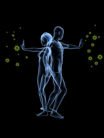 immunodeficiency syndrome: immune defense - woman and man blocking viruses