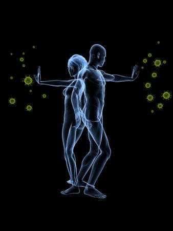 immuunsysteem verdediging - vrouw en man, het blokkeren van virussen