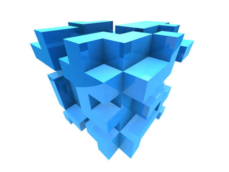 viewpoints: abstract blue cubes Stock Photo