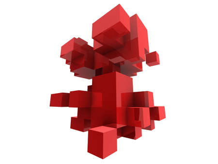 abstract red cubes photo