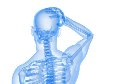 esqueleto humano: esqueleto humano - ilustraci�n de dolor de cabeza y migra�a  Foto de archivo
