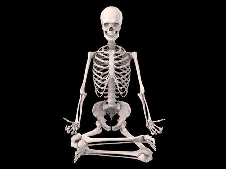 sitting meditation: sitting human skeleton