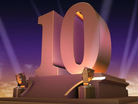 number 10: golden 10 on a platform - film style