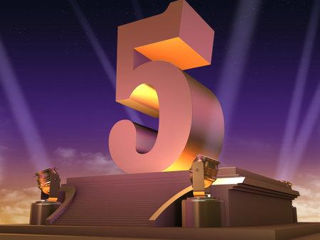 pedestal: golden 5 on a platform - film style