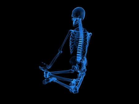 x-ray - human skeleton sitting photo