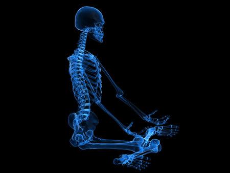 sitting meditation: x-ray - human skeleton sitting Stock Photo