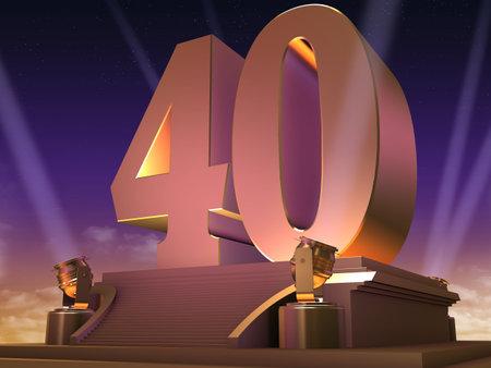 golden 40 on a platform - film style photo