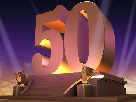 number 50: oro 50 en una plataforma - estilo de pel�cula Foto de archivo
