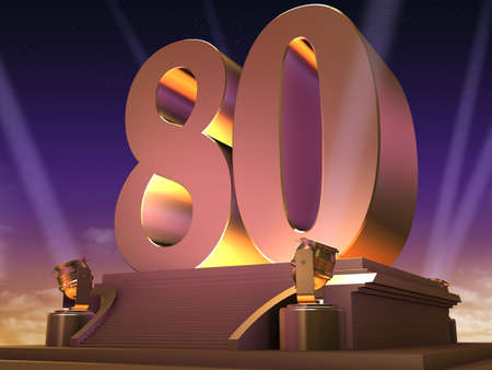 30 years: golden 80 on a platform - film style