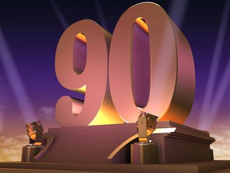 golden 90 on a platform - film style photo