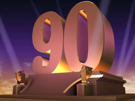 90: golden 90 on a platform - film style