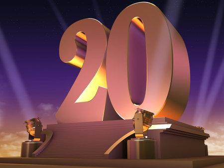 awards ceremony: golden 20 on a platform - film style