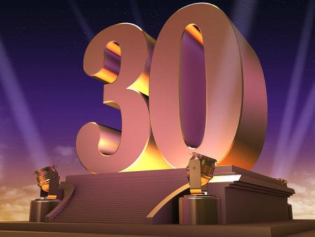 30: golden 30 on a platform - film style Stock Photo