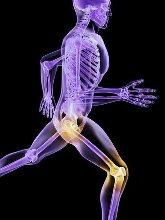 física: hombre - cadera dolorosa y rodilla en ejecuci�n  Foto de archivo