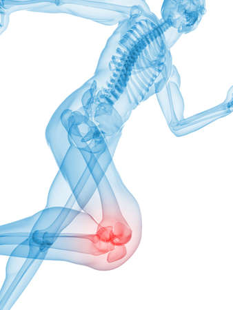skeletal: jogger - highlighted knee Stock Photo