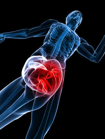 with stamina: jogger - highlighted knee Stock Photo