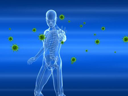 immune:  male skeleton blocking viruses