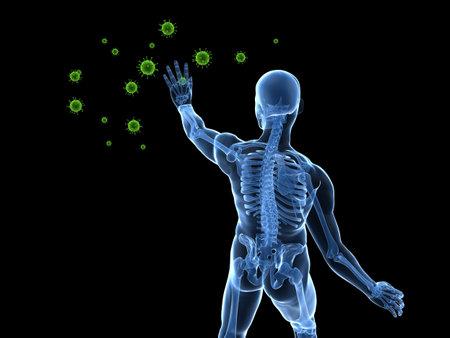 human male skeleton blocking viruses photo