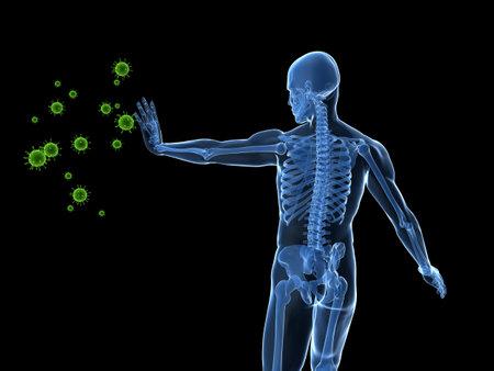 male skeleton blocking viruses photo