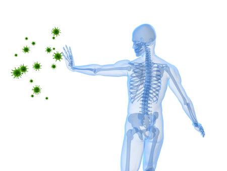 male skeleton blocking viruses
