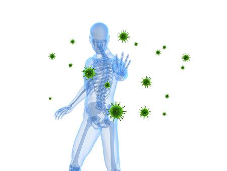 viruses: esqueleto masculino bloqueo de virus