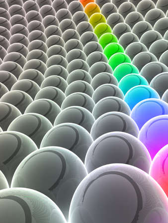rainbow balls between grey balls Stock Photo - 7299879