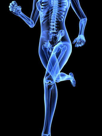 bone health: female jogger - x-ray
