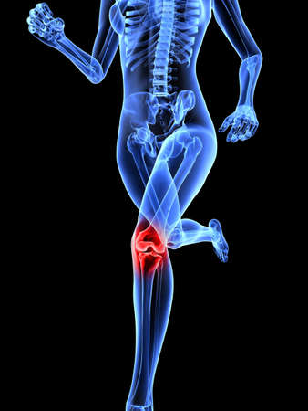running female skeleton with highlighted joints