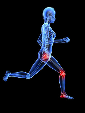 inflammation: running female skeleton with highlighted joints