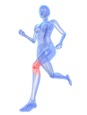 painful: running skeleton with highlighted knee