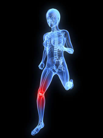 with stamina: running skeleton with highlighted knee