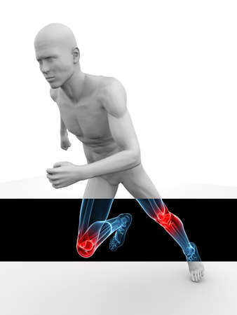jogger: 3d model - jogger - highlighted knees Stock Photo