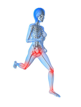 with stamina: running female skeleton with highlighted joints