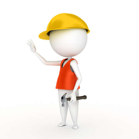 construction worker cartoon: 3d rendered illustration of a little worker guy Stock Photo