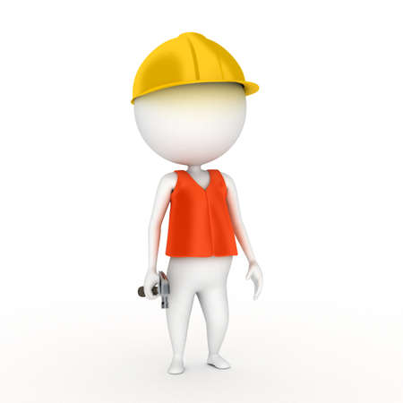fullbody: 3d rendered illustration of a little worker guy Stock Photo