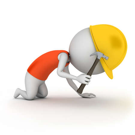 3d rendered illustration of a little worker guy Stock Illustration - 11023455